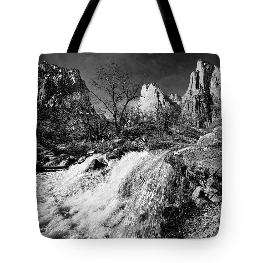 Mountains Tote Bag featuring the photograph Late Afternoon At The Court Of The Patriarchs - Bw by Christopher Holmes