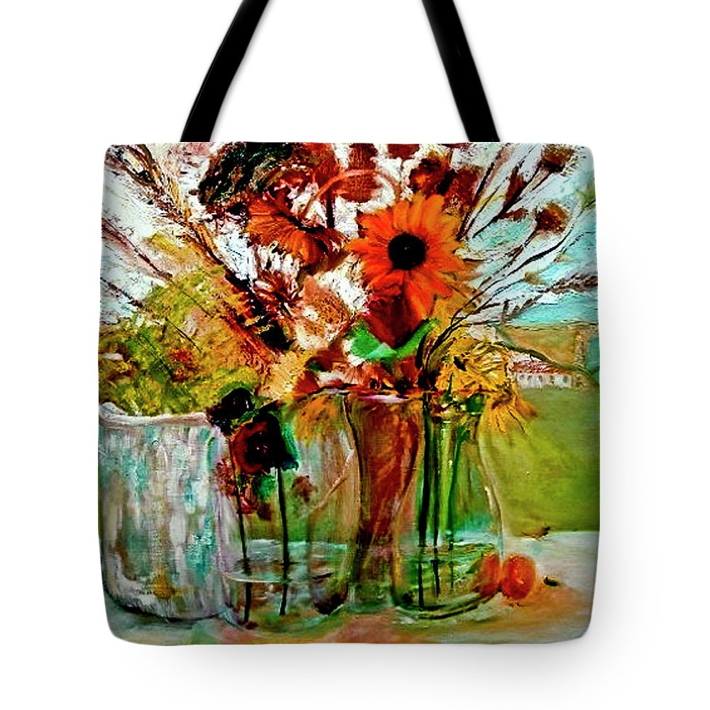 Flowers Jar Glass Thistle Picnic Green Lemon Rose Tote Bag featuring the painting Late Summer by Jack Diamond