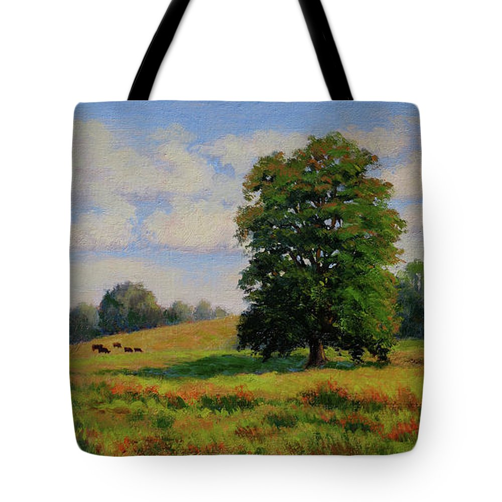 Impressionism Tote Bag featuring the painting Late Summer Pastoral by Keith Burgess
