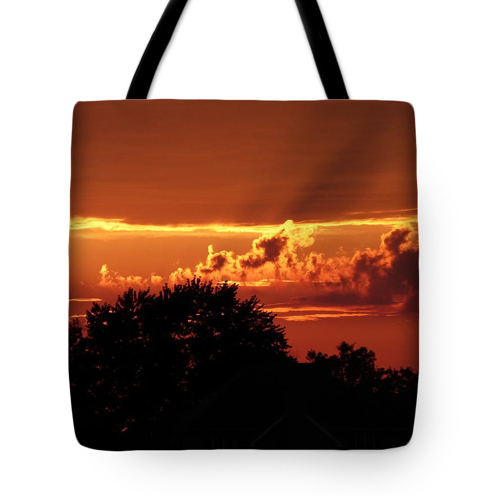 Sunset Tote Bag featuring the photograph Late Summer Sunset by Barbara Ebeling