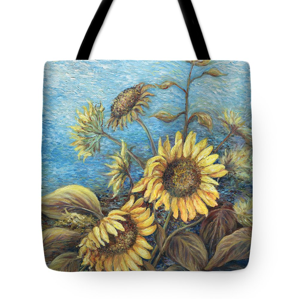 Sunflowers Tote Bag featuring the painting Late Sunflowers by Valerie Meotti