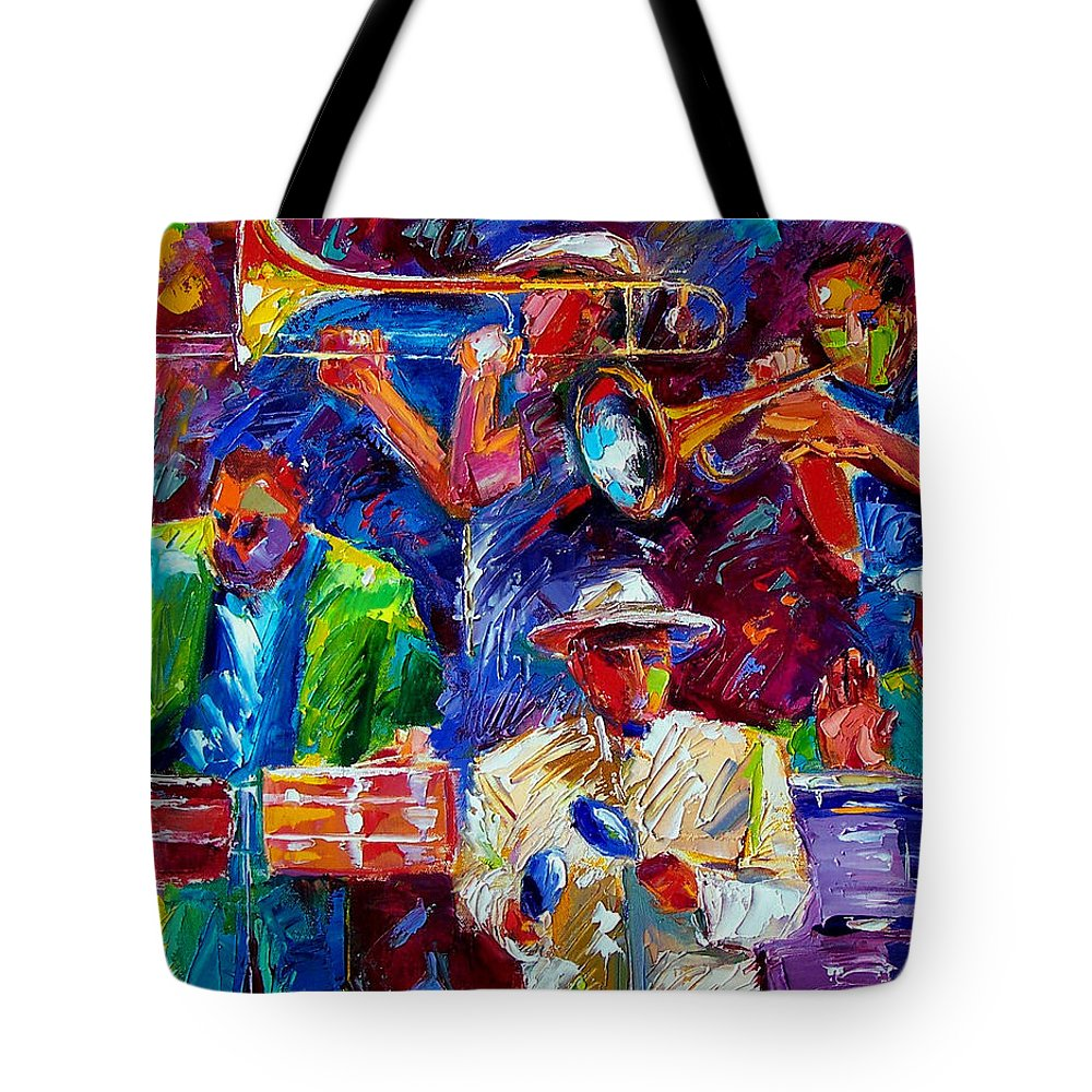 Jazz Tote Bag featuring the painting Latin Jazz by Debra Hurd