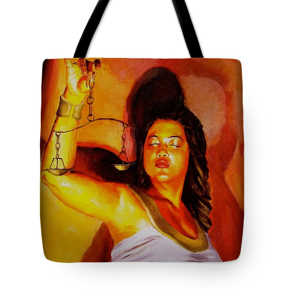 Law Art Tote Bag featuring the painting Latina Lady Justice by Laura Pierre-Louis