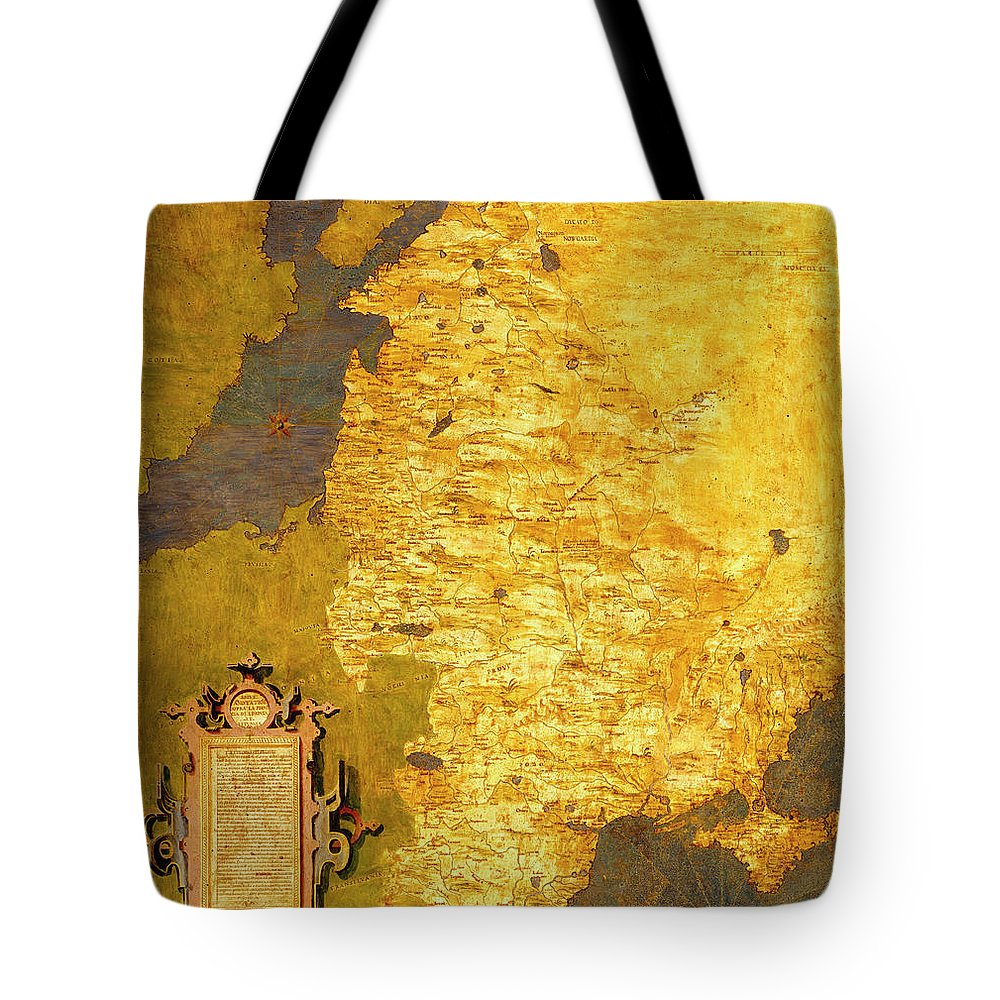 Map Tote Bag featuring the painting Latvia And Lithuania by Italian painter of the 16th century