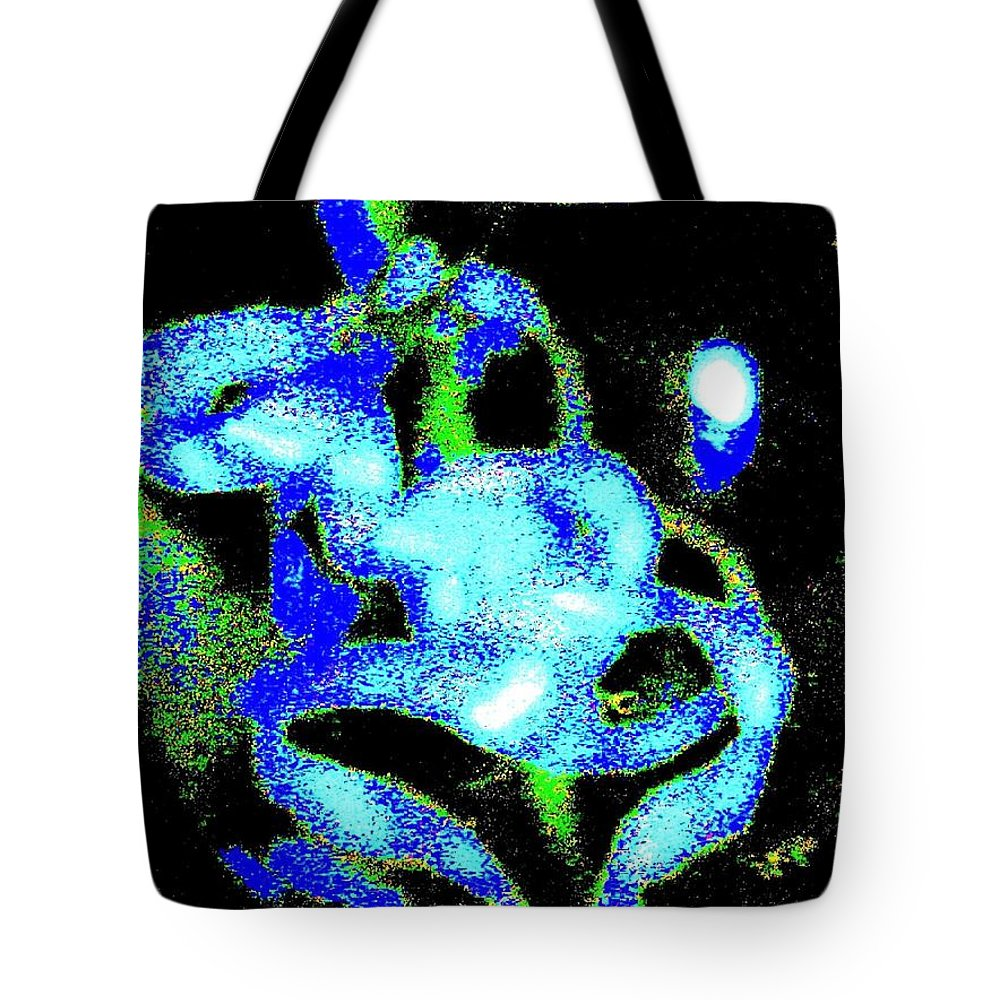 Abstract Tote Bag featuring the digital art Laughing Dog by Will Borden