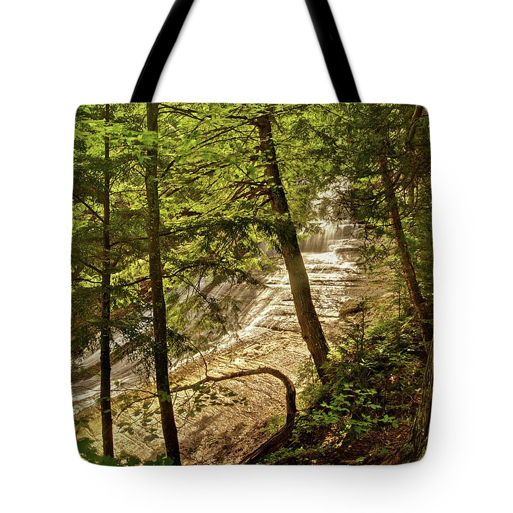 Laughing Whitefish Tote Bag featuring the photograph Laughing Whitefish Falls 2 by Michael Peychich
