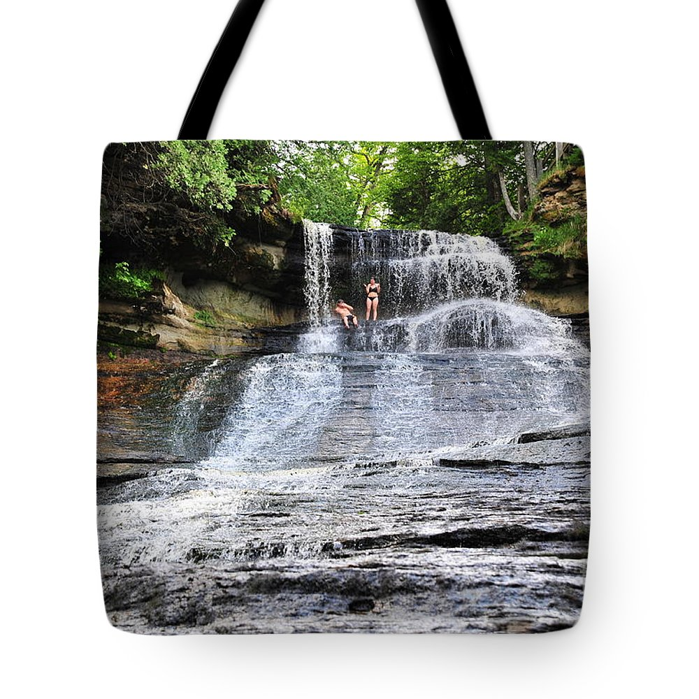 Waterfall Tote Bag featuring the photograph Laughing Whitefish Waterfall In Michigan by Terri Gostola