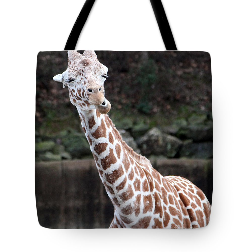 Laughing Giraffe Tote Bag featuring the photograph Laughter by Amanda Barcon