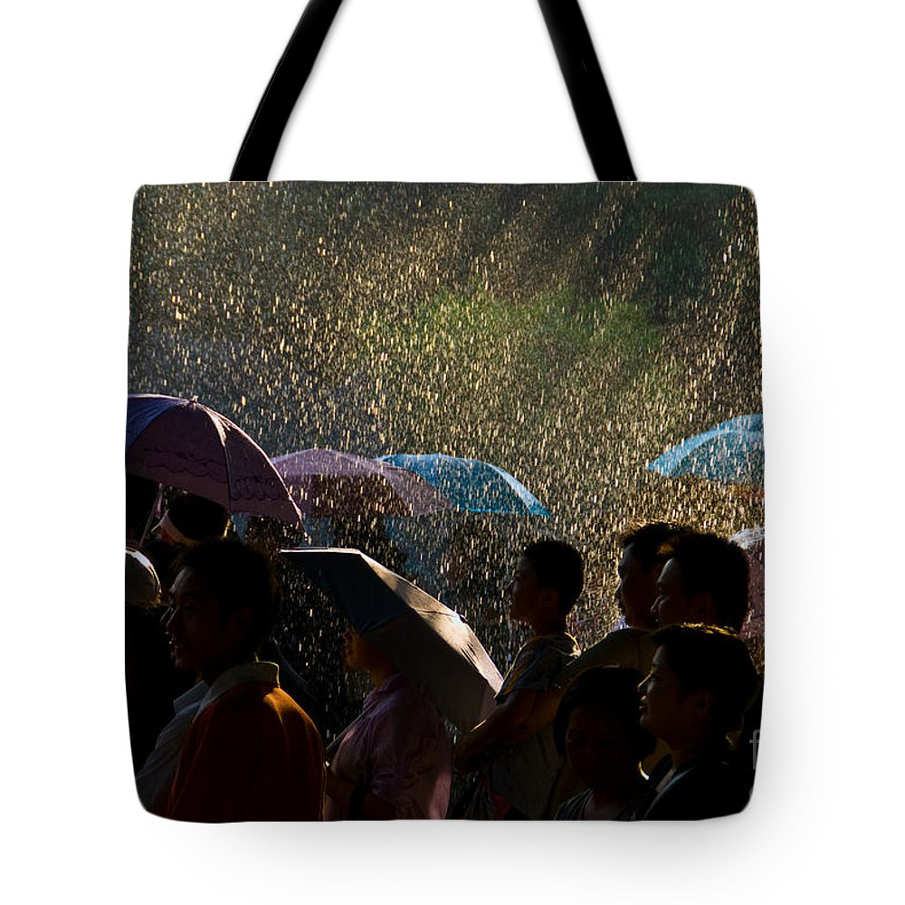 Rain Tote Bag featuring the photograph Laughter In The Rain by Venetta Archer