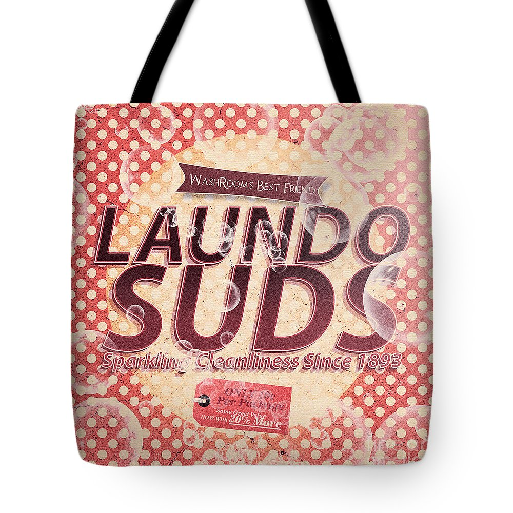 Tin Sign Tote Bag featuring the digital art Laundo Soap Suds Advertising by Jorgo Photography - Wall Art Gallery
