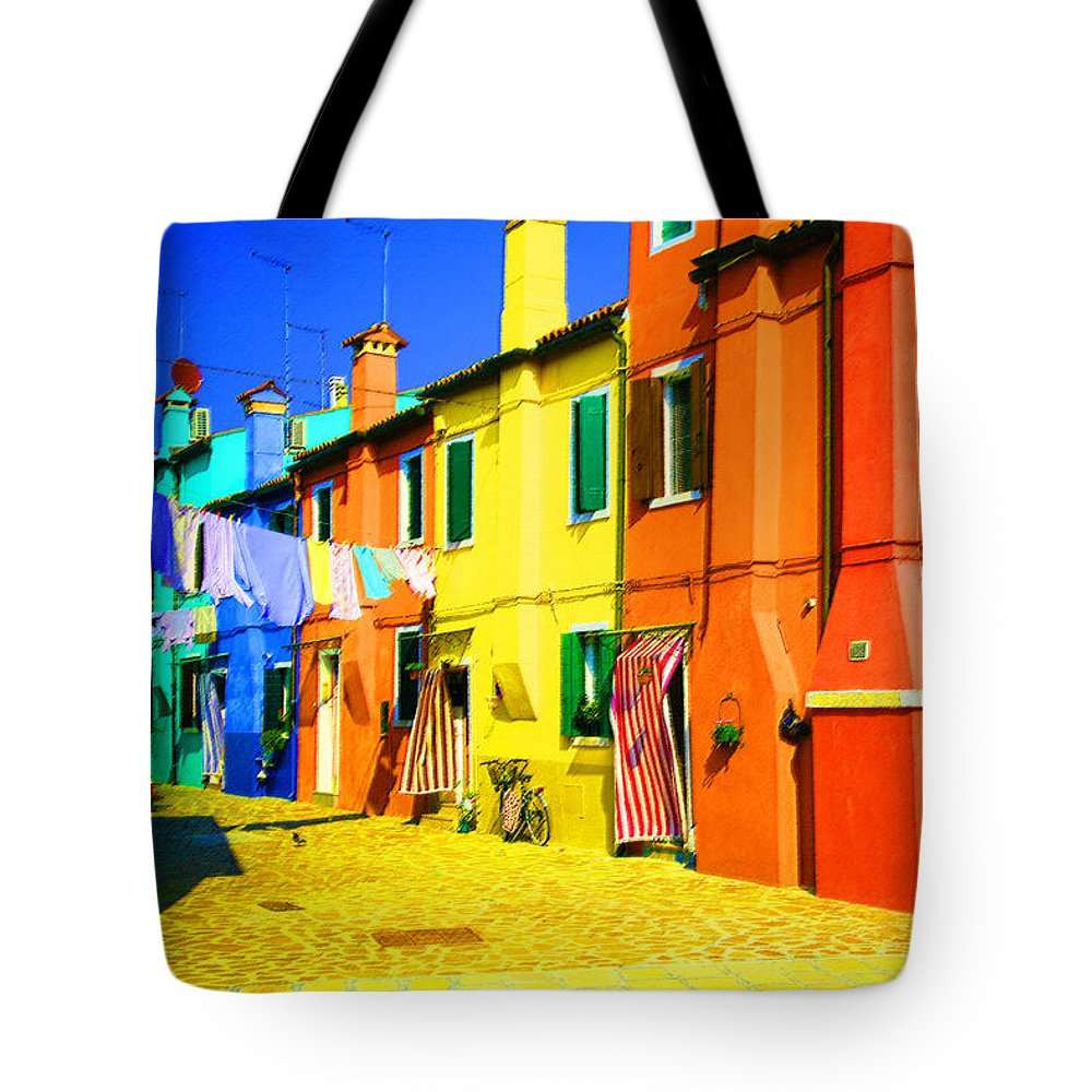 Burano Tote Bag featuring the photograph Laundry Between Chimneys by Donna Corless