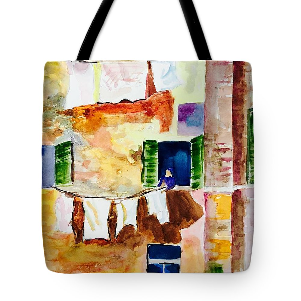 Italian Scenes Tote Bag featuring the painting Laundry Day by Denise Mc Nellis