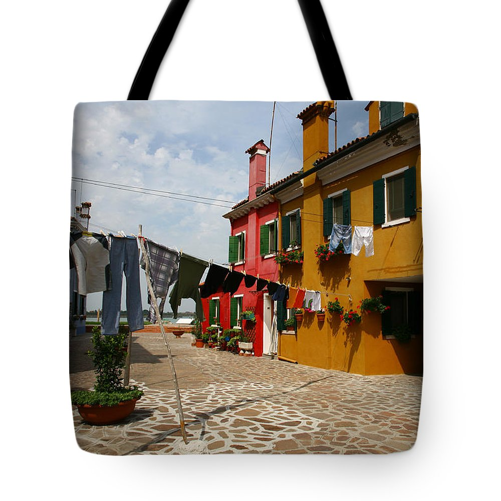 Laundry Tote Bag featuring the photograph Laundry Held By Wooden Pole by Donna Corless