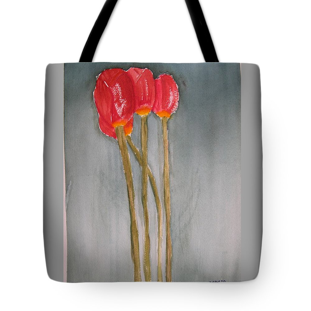Tulip Flower Bouquet Tote Bag featuring the painting Laura by Patricia Caldwell
