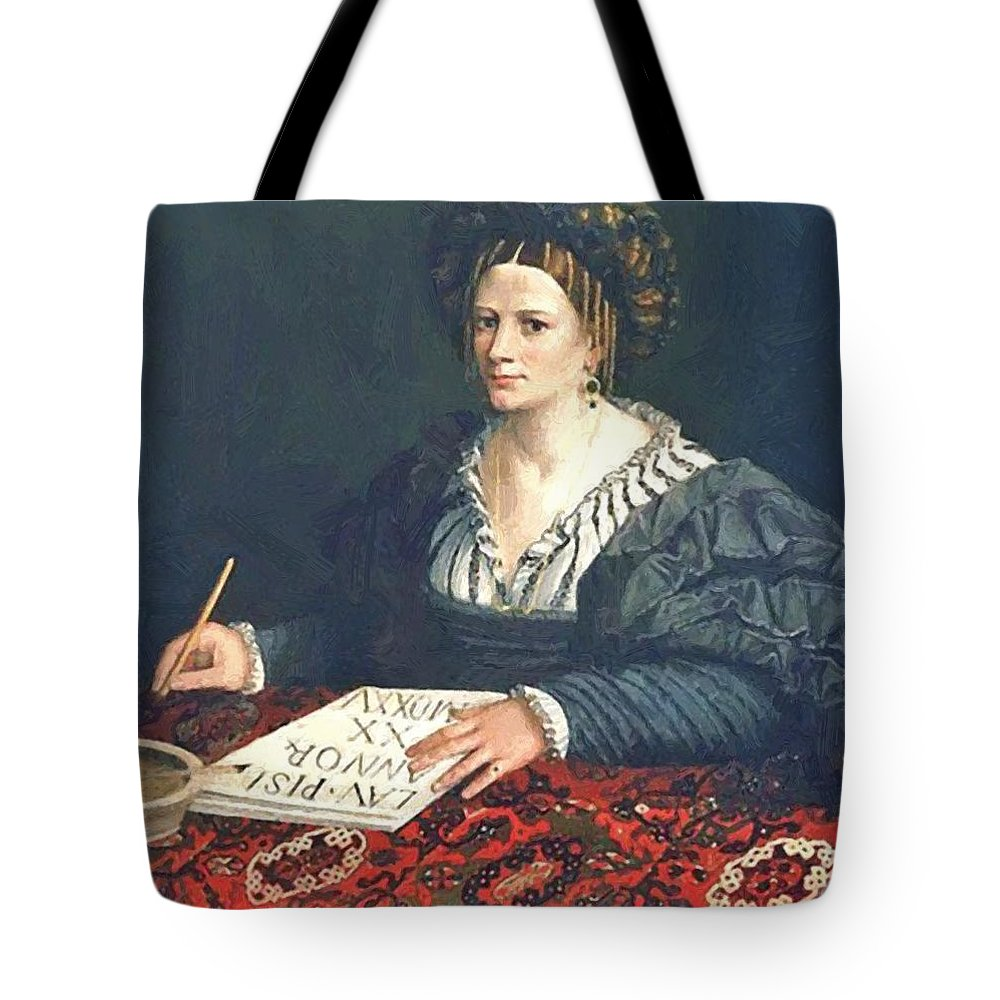Laura Tote Bag featuring the painting Laura Pisani 1525 by Dossi Dosso
