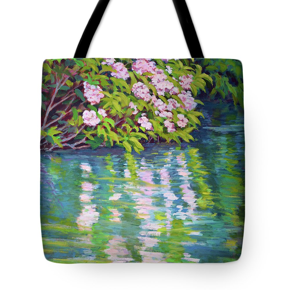 Impressionism Tote Bag featuring the painting Laurel Reflection by Keith Burgess