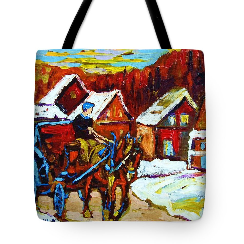 Horse And Carriage Tote Bag featuring the painting Laurentian Village Ride by Carole Spandau