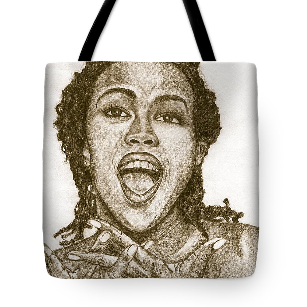 Lauryn Hill Tote Bag featuring the painting Lauryn Hill by Debbie DeWitt