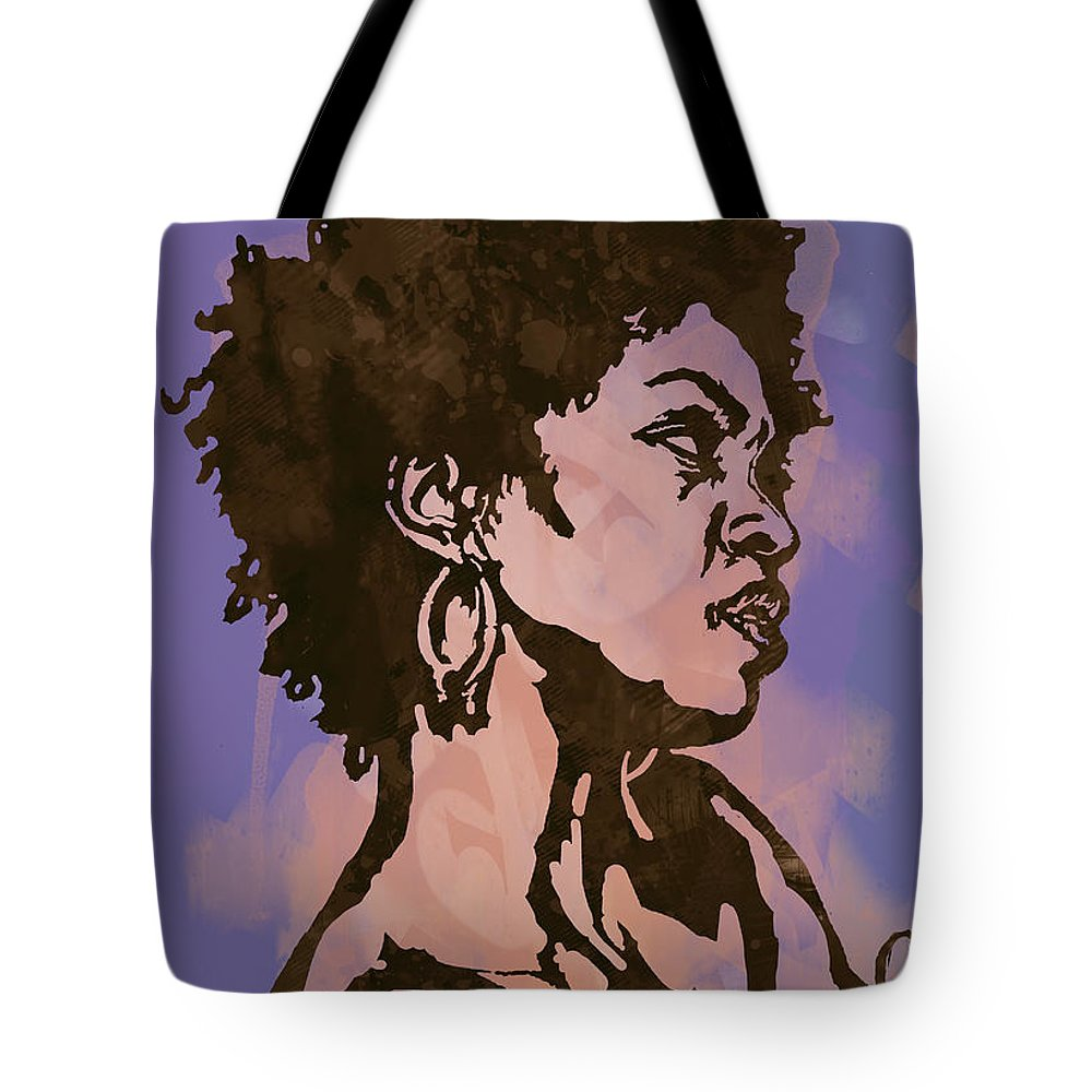 Lauryn Hill (born May 26 Tote Bag featuring the drawing Lauryn Hill Pop Stylised Art Sketch Poster by Kim Wang