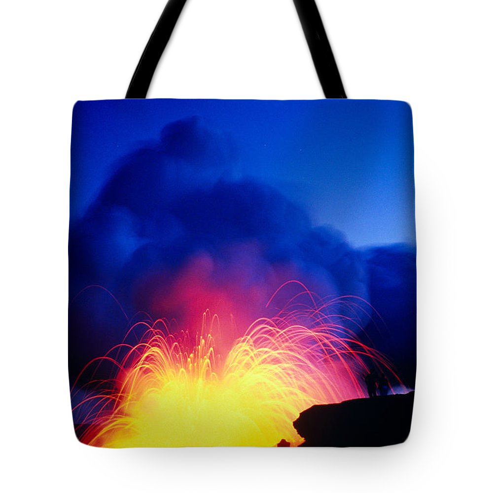 A'a Tote Bag featuring the photograph Lava Explodes by Greg Vaughn - Printscapes