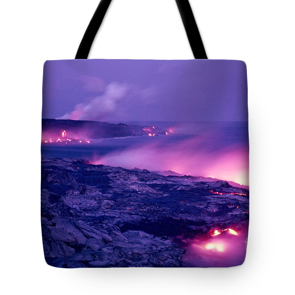 Amaze Tote Bag featuring the photograph Lava Flows To The Sea by Mary Van de Ven - Printscapes