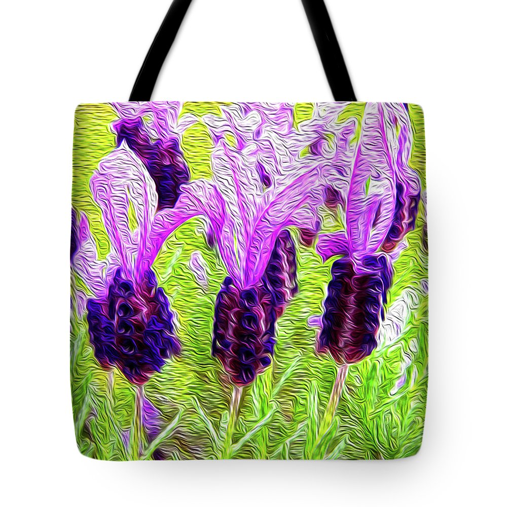 Plant Tote Bag featuring the digital art Lavender Abstract by Les Cunliffe