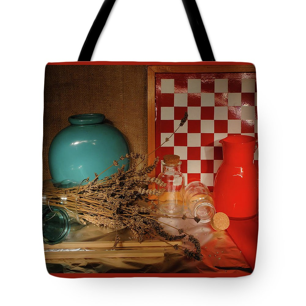 Still Life Tote Bag featuring the photograph Lavender And Glass by Guido Strambio