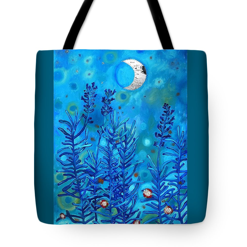 Moon Tote Bag featuring the painting Lavender And Moon by Margaret Shipman