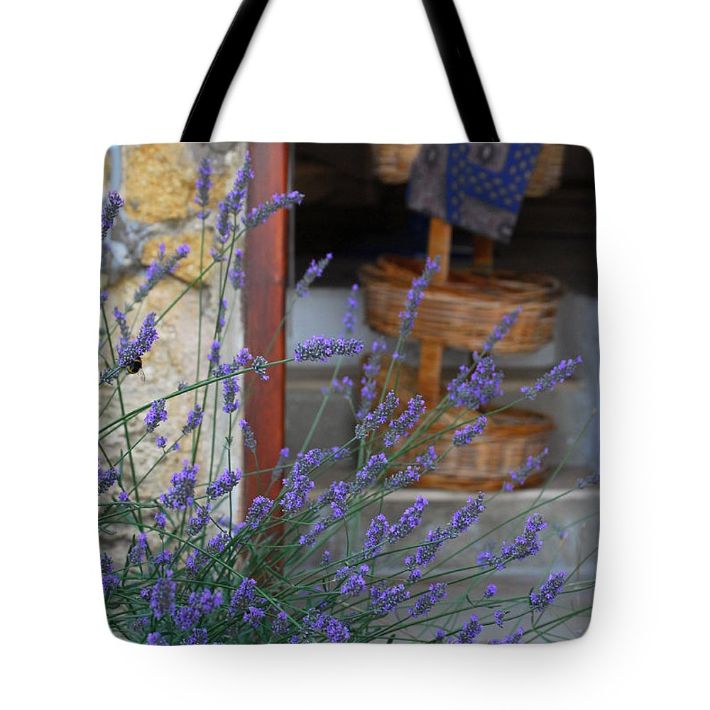 Provence Tote Bag featuring the photograph Lavender Blooming Near Stairway by Anne Keiser