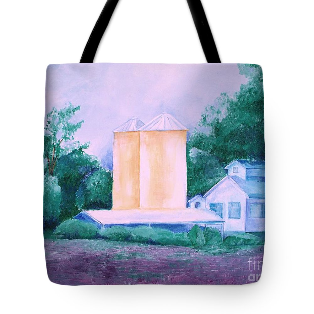 Western Tote Bag featuring the painting Lavender Farm Albuquerque by Eric Schiabor