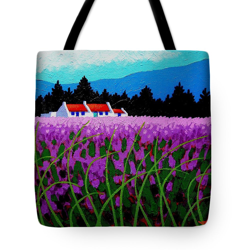 Lavender Tote Bag featuring the painting Lavender Field - County Wicklow - Ireland by John Nolan