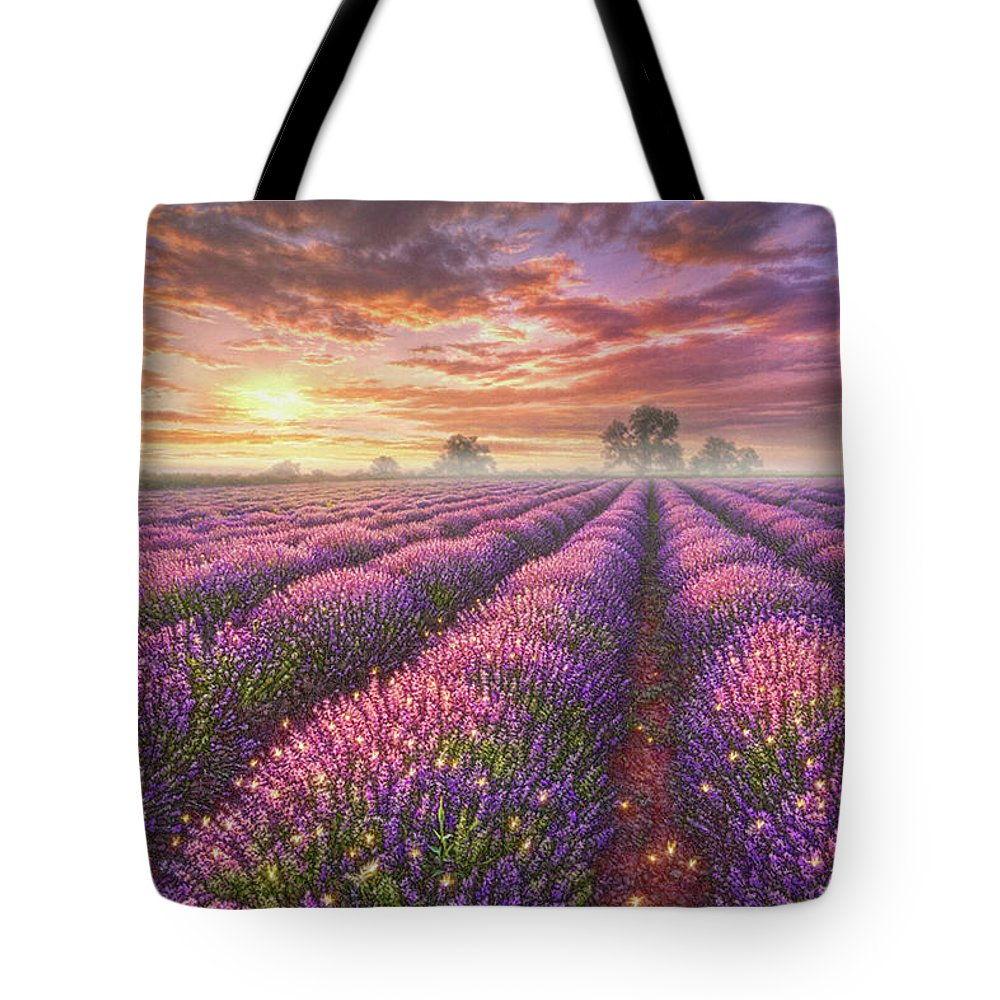 Lavender Tote Bag featuring the painting Lavender Field by Phil Jaeger