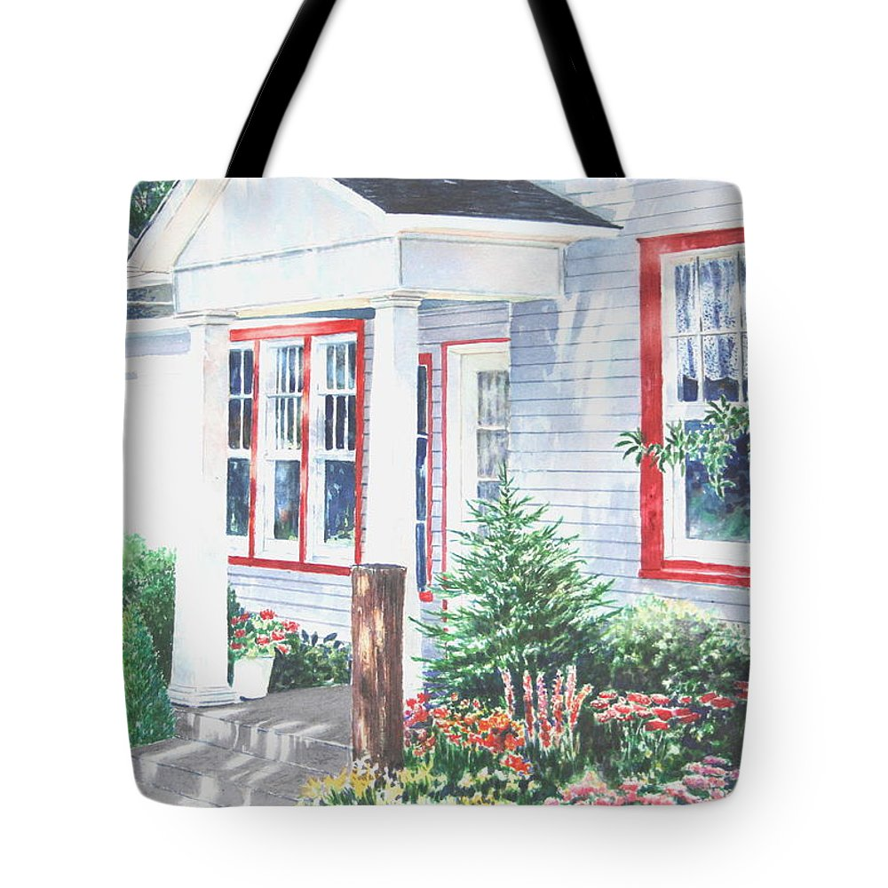 Landscape Tote Bag featuring the painting Lavender Lane Occoquan Virginia by Tom Harris