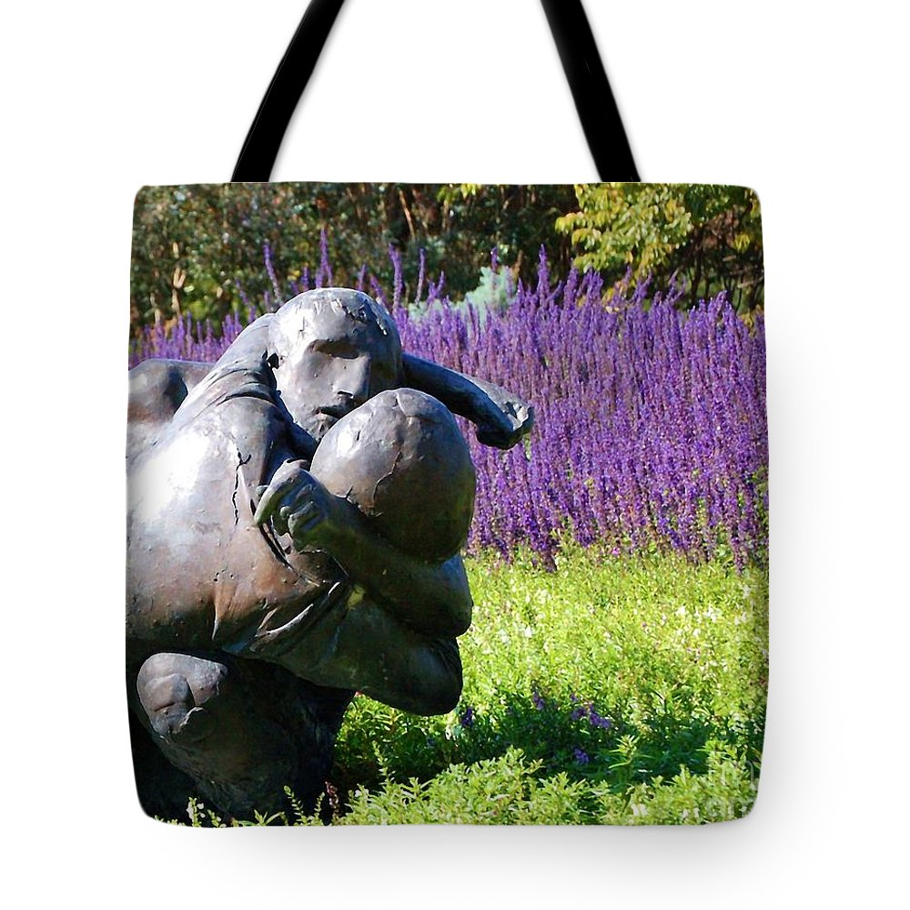 Statue Tote Bag featuring the photograph Lavender Lovers by Debbi Granruth
