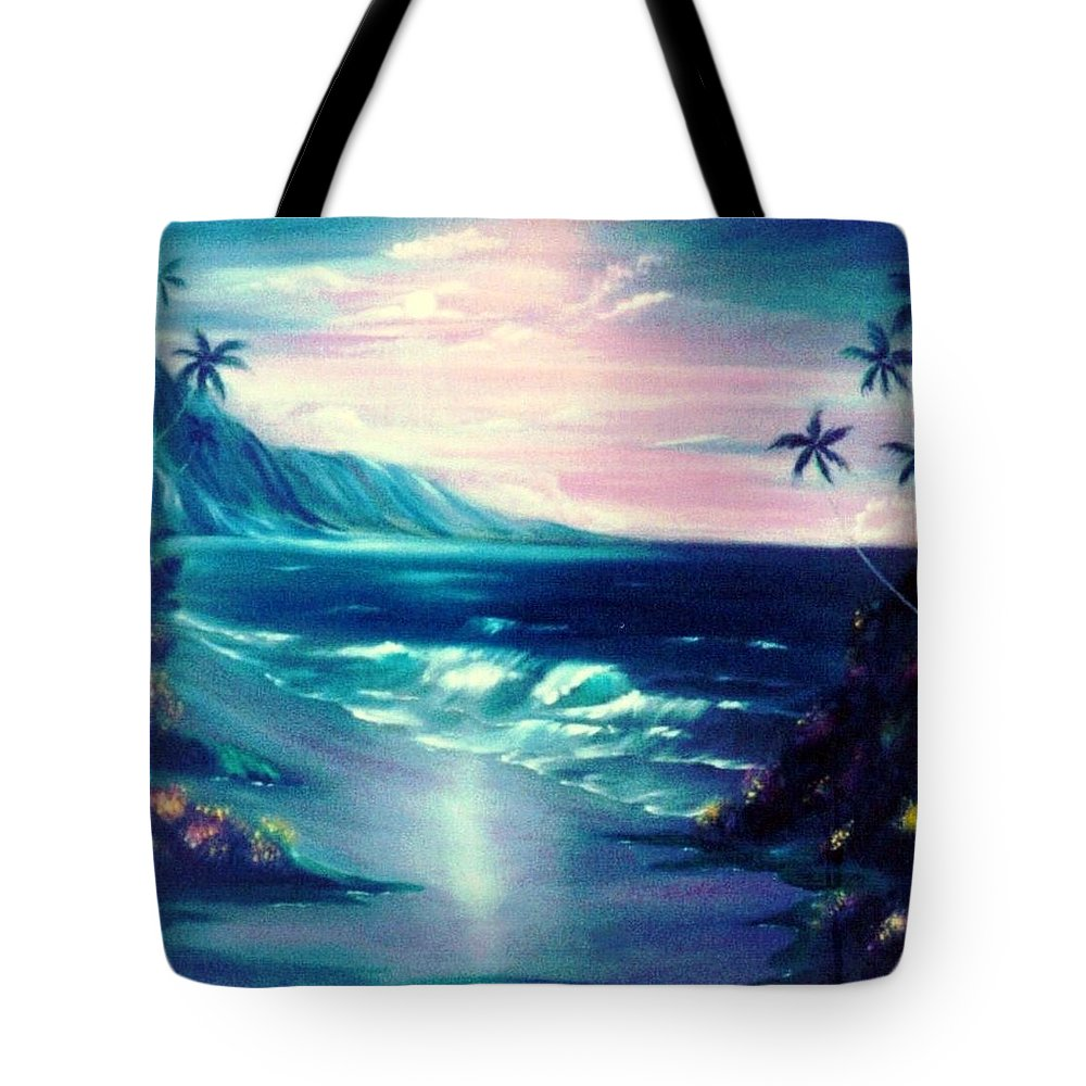 Moonlight Tote Bag featuring the painting Lavender Night by Dina Holland