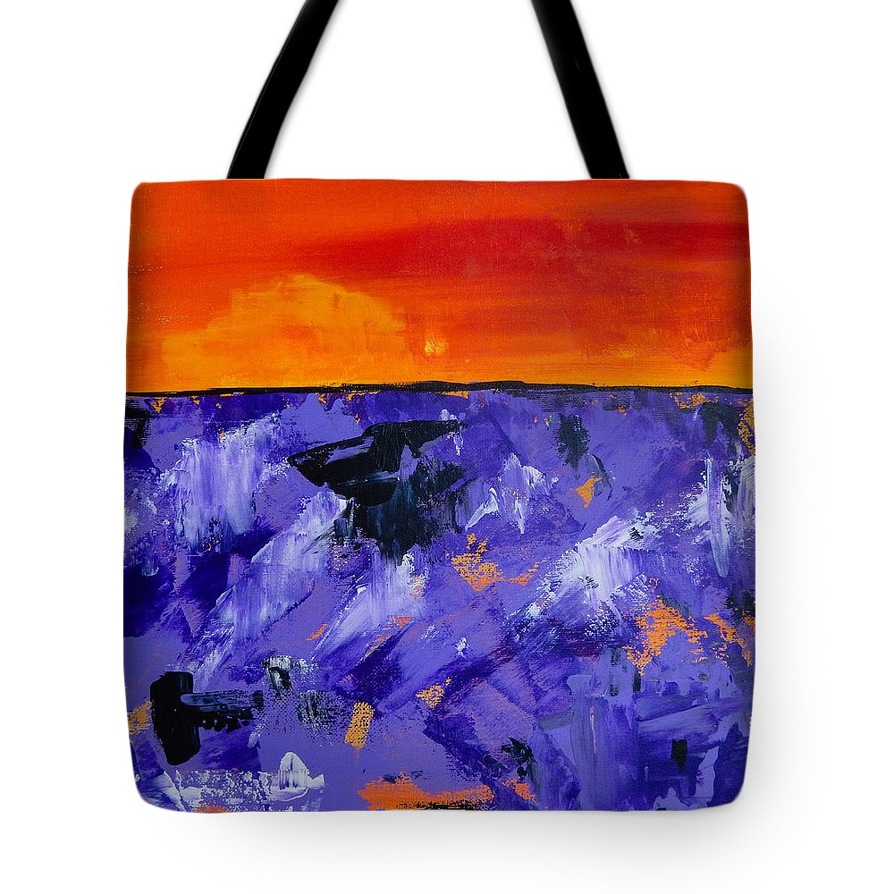 Lavender Tote Bag featuring the painting Lavender Sunset Abstract Landscape by Eliza Donovan