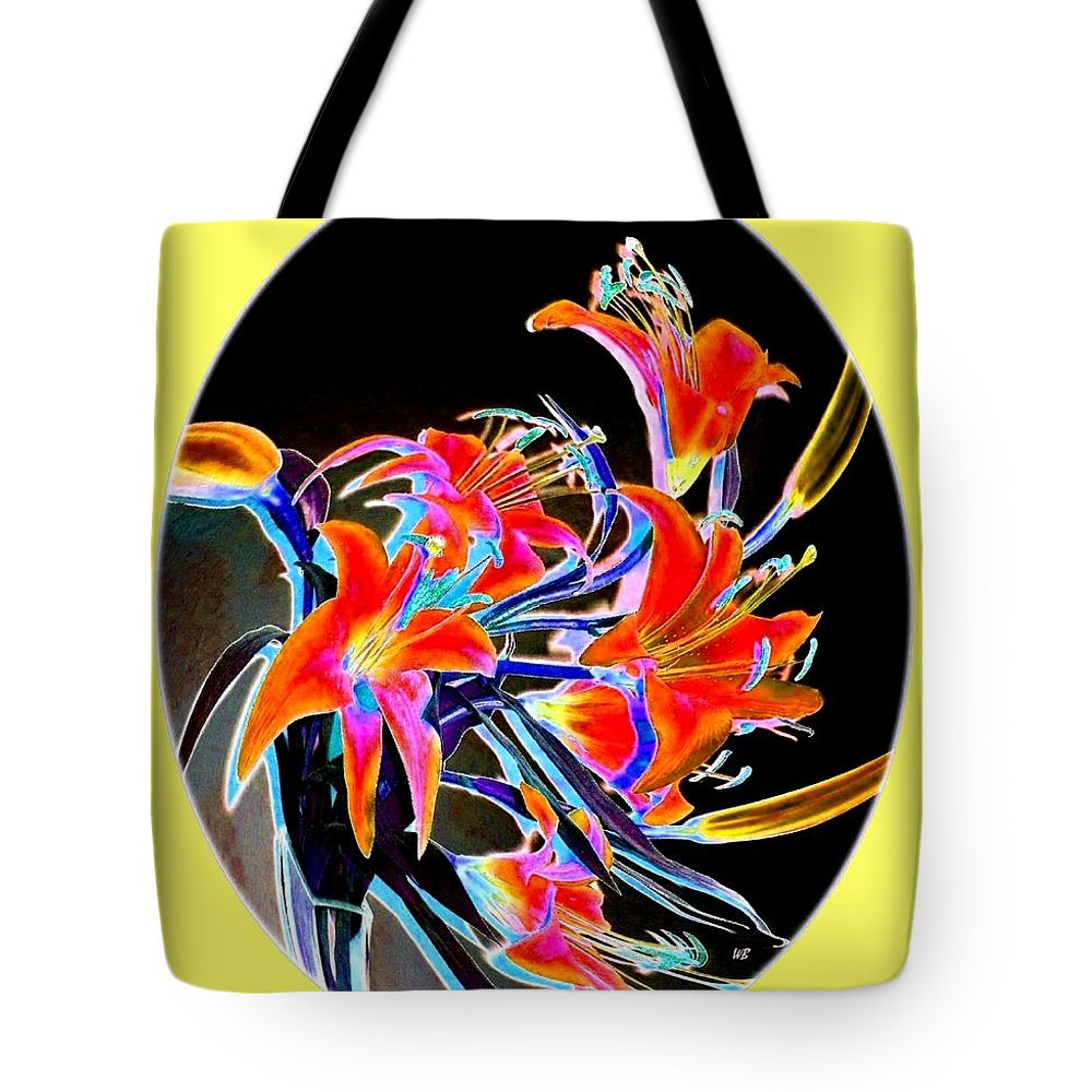 Lilies Tote Bag featuring the digital art Lavish Lilies 2 by Will Borden