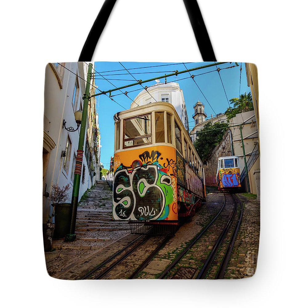 Lavra Tote Bag featuring the photograph Lavra Funicular, Lisbon, Portugal by Karol Kozlowski