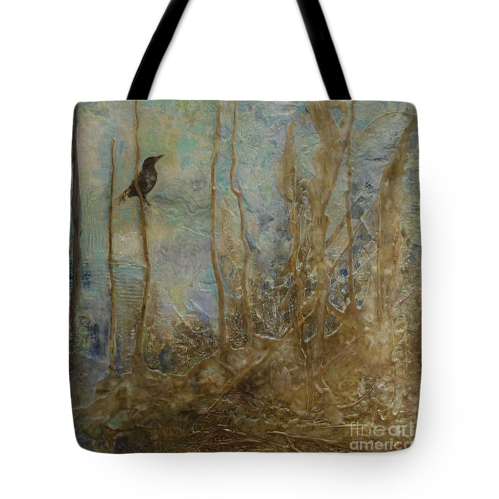 Bird Tote Bag featuring the painting Lawbird by Heather Hennick