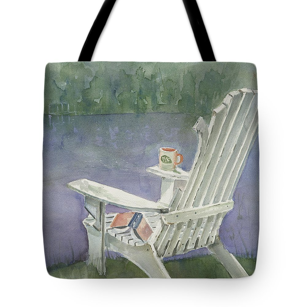 Chair Tote Bag featuring the painting Lawn Chair By The Lake by Arline Wagner