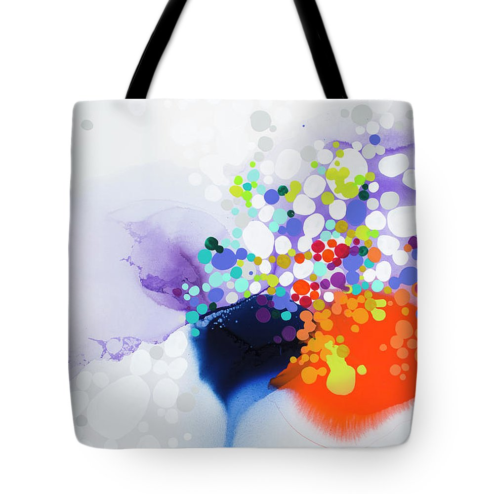 Abstract Tote Bag featuring the painting Lay The Blame by Claire Desjardins
