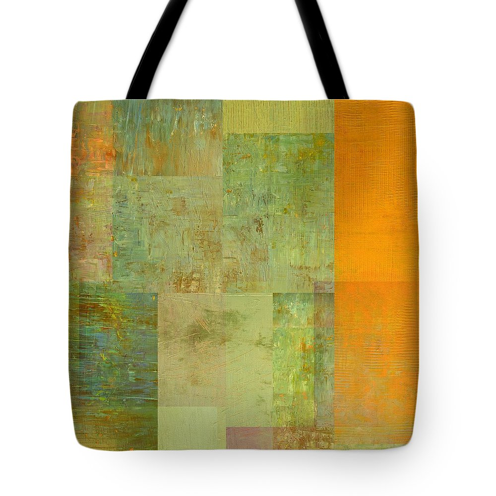 Monochromatic Tote Bag featuring the painting Layer Study - Turquoise by Michelle Calkins