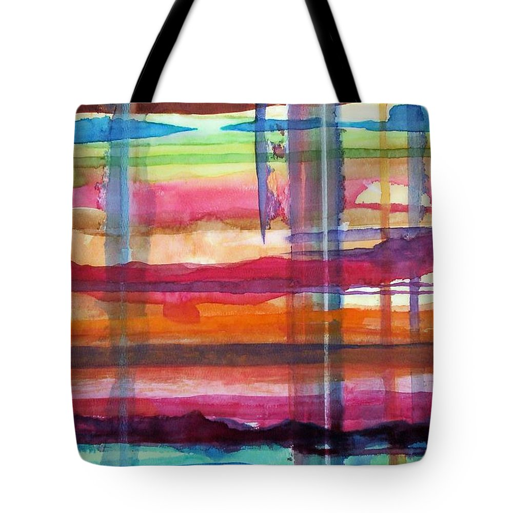 Abstract Tote Bag featuring the painting Layered by Suzanne Udell Levinger