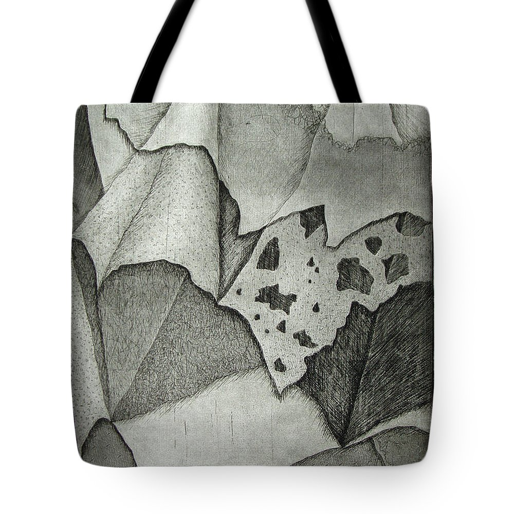 Etching Tote Bag featuring the drawing Layers by Nancy Mueller