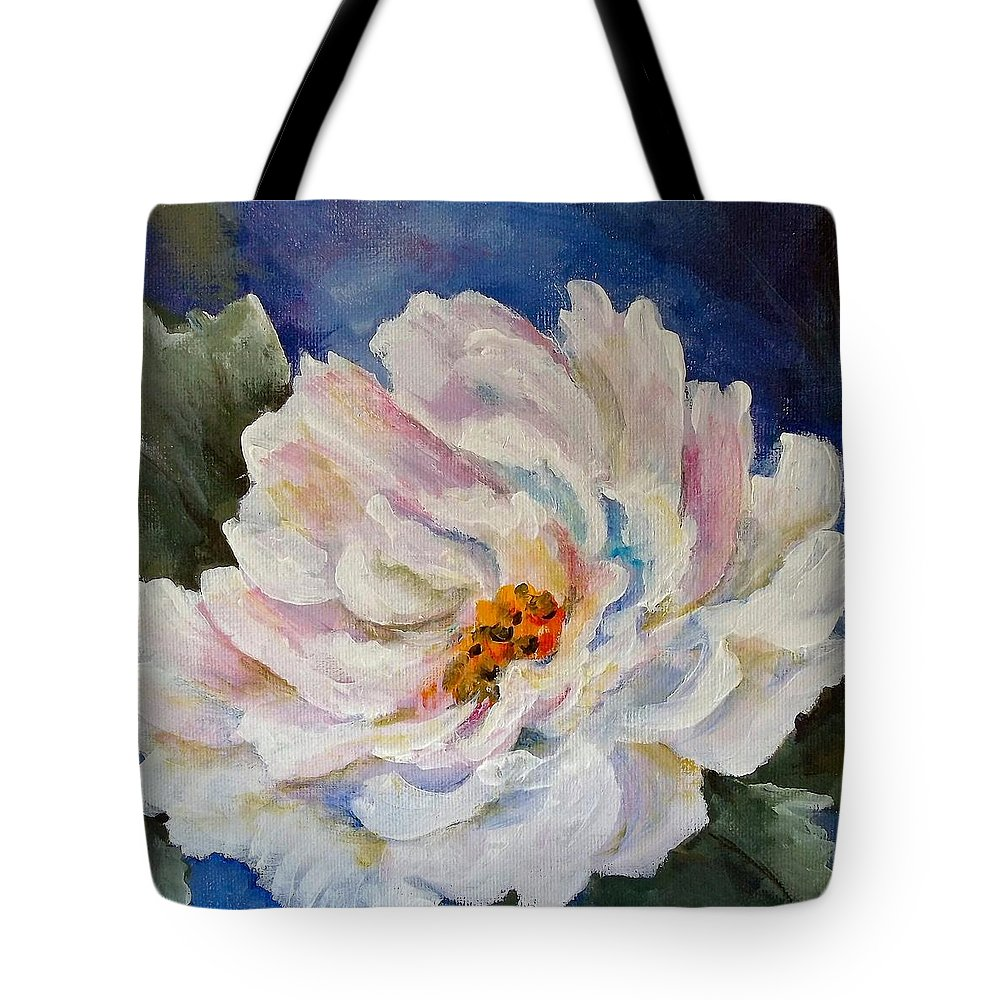 Flowers Tote Bag featuring the painting Layers Of Blue by Carolyn Bell