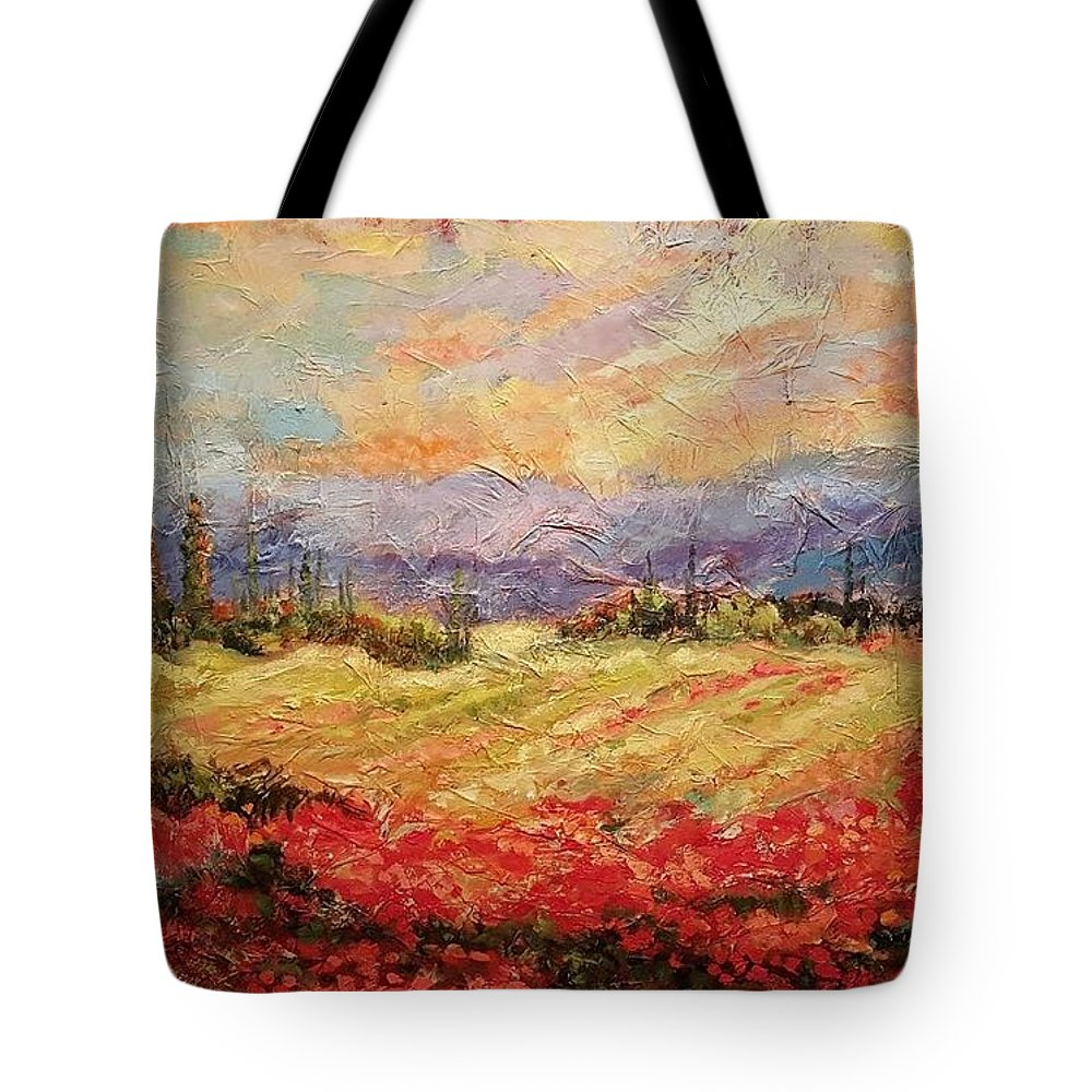 Italian Vineyards Tote Bag featuring the painting Layers of Tuscany by Ginger Concepcion