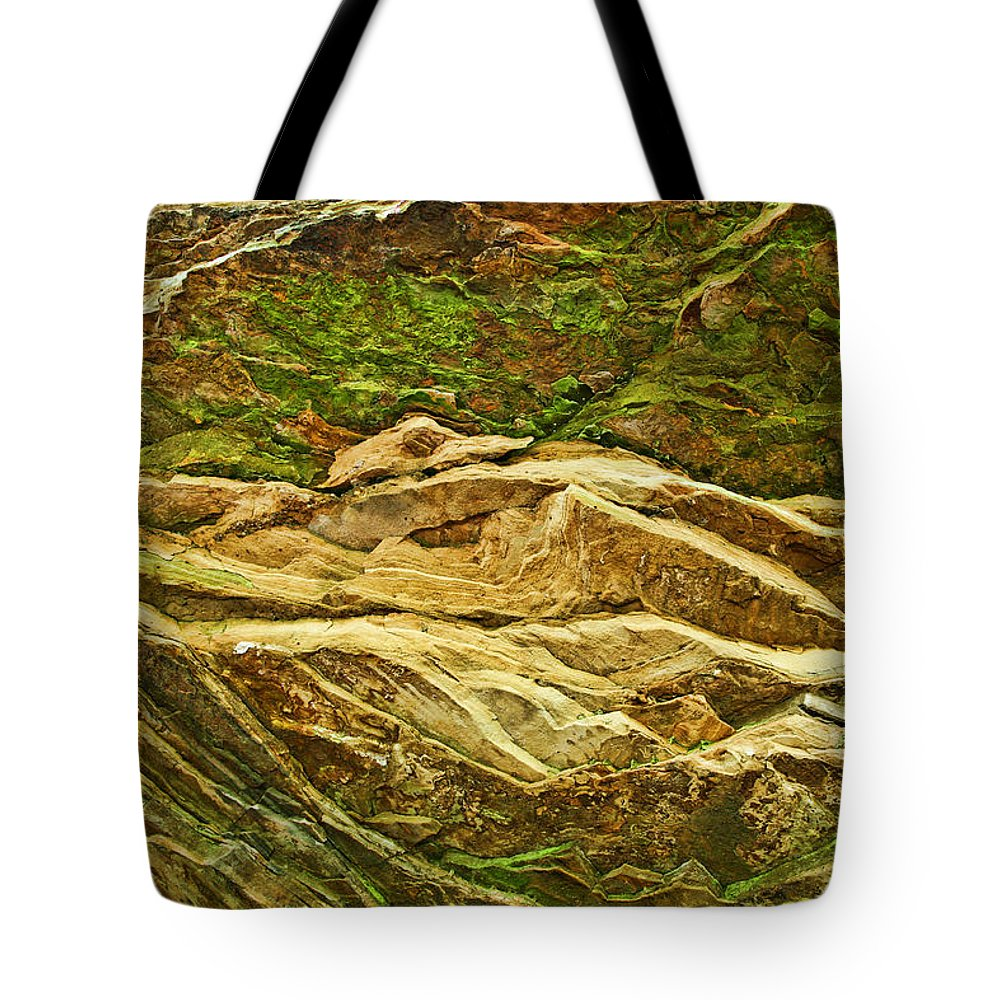 Rocks Layers Geology Moss Photography Photograph Art Digital Tote Bag featuring the photograph Layers by Shari Jardina