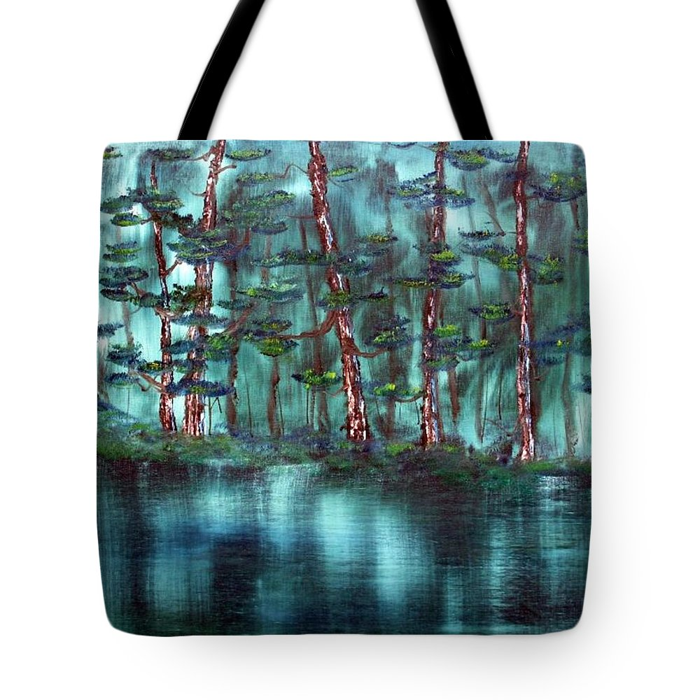 Landscape Tote Bag featuring the painting Lazy River by Ervin Sloan