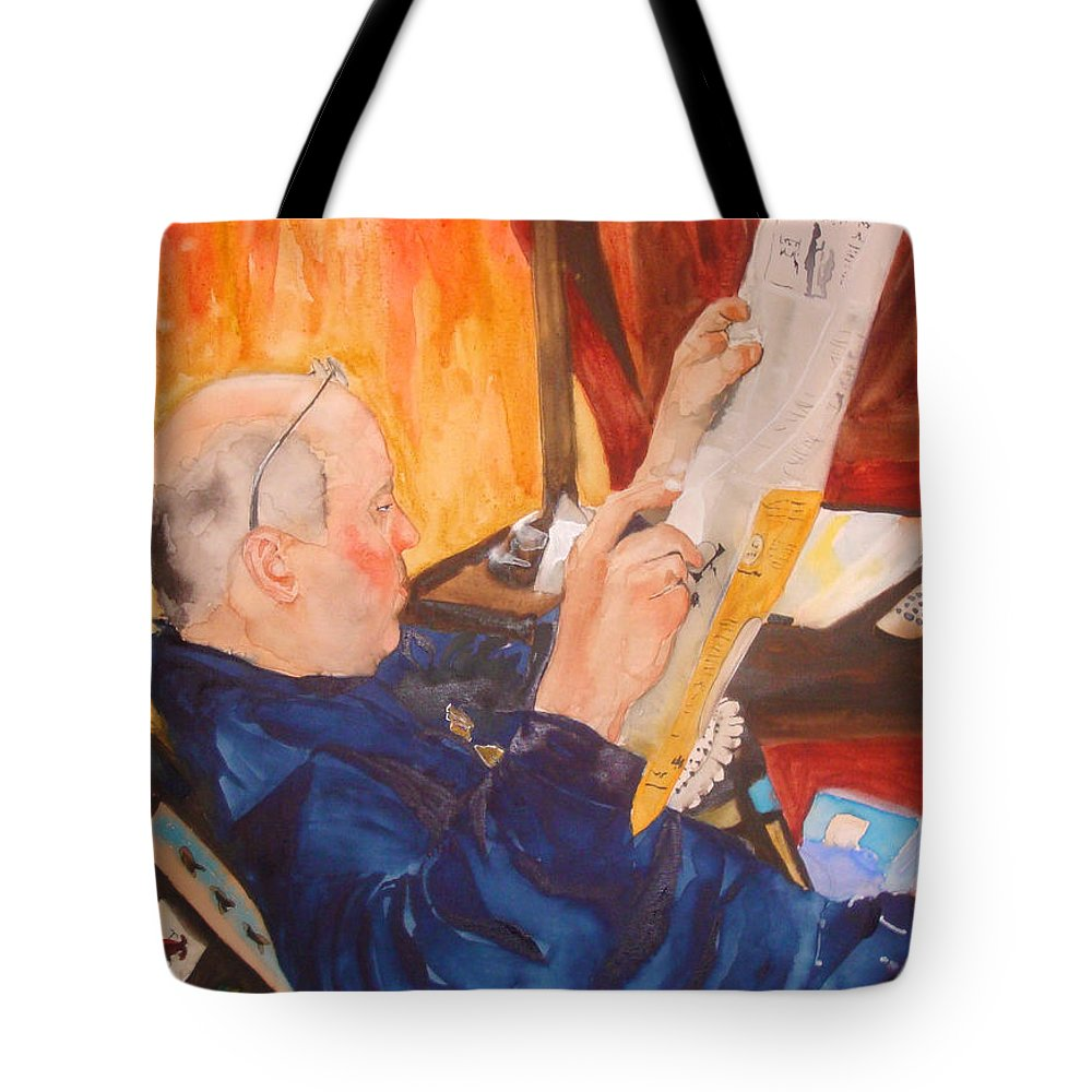 Portrait Tote Bag featuring the painting Lazy Sunday Morning by Jean Blackmer