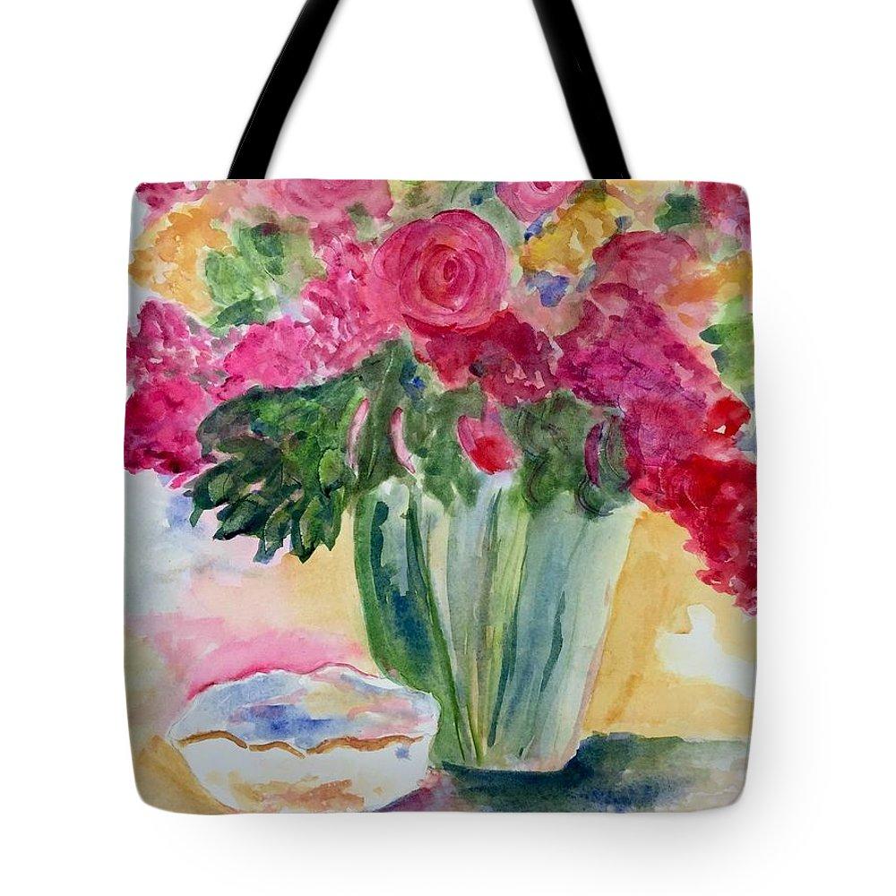 Flowers Tote Bag featuring the pastel Le Fleur by Denise Mc Nellis